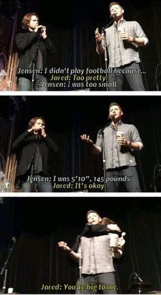 I love that Jared immediately thinks of Jensen as pretty! Cuteness!!