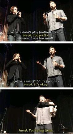 I love that Jared immediately thinks of Jensen as pretty! Cuteness!!
