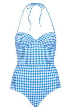 1950s inspired gingham halter swimsuit