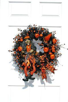 Witch Wreath / Halloween Wreath / Black by englishrosedesignsoh Halloween Front Doors, Halloween Wreaths, Mesh Wreaths, Wreaths For Front Door, Witch Wreath, Witch Decor, Pumpkin Decorating, Orange, Handmade