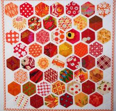 Pinkadot Quilts: Hexie Friday. Glued to background and quilted down