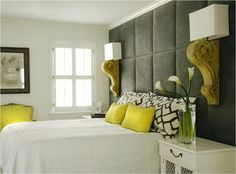 Grey cushioned headboard wall by marcianita