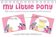 Free My Little Pony invites plus how to customize them for your own party