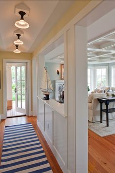 A Summer Home On The South Coast Of Rhode Island Kitchen Open To Living RoomHalf Wall