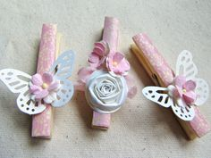 Pink butterflies and flowers washi decorative clothespins set of 10 decorated clothes pins handmade paper flowers