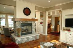 see through fireplace photo   See thru beach house fireplace