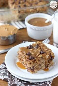 Peanut Butter Chocolate Chip Banana Bread Baked Oatmeal with Peanut Butter Syrup from A Kitchen Addiction