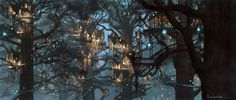 Tree House City. I'm nerdy. This example comes from lotr. City of Lothlorien.