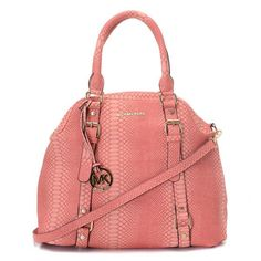 Michael Kors Large Bedford Bowling Satchel Pink Pink leather.Golden hardware.Top handles with square rings; buckled straps down front.Removable buckled shoulder strap.Hanging MK circle logo charm.Michael Kors logo at top center.Continental zip top.