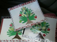 Handprint Christmas tree placemats