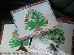 Handprint Christmas tree placemats