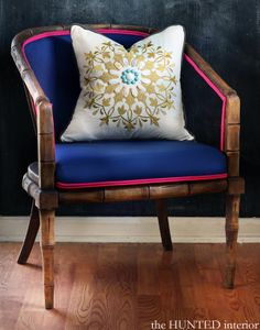 reupholstered chair with contrast piping by @Kristin :: Teal White Garden Jackson {the Hunted Interior}