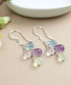 Semiprecious Earrings Pastel Gemstone Briolette jewelry, Christmas gift ideas by BlueRoomGems, $92.00