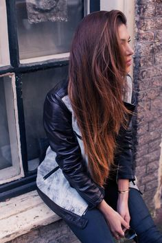 Must-have: Leather Jacket aB two tone leather jacket on Negin Mirsalehi, available at Nordstrom.