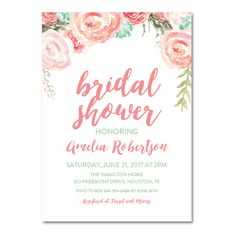 DIY!  Editable PDF Bridal Shower Invitation DIY - Pink Mint Watercolor Floral - Instant Download Printable- Edit in Adobe Reader