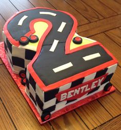 Birthday cake for little boy.  Just add your favorite Cars character.  By www.dkscakes.com