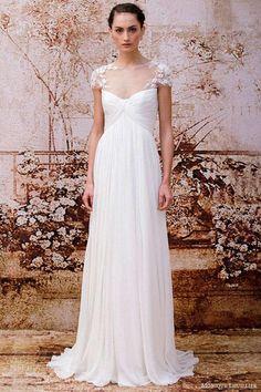 lace and chiffon illusion neckline wedding dress