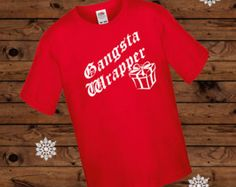 Gangster Wrapper T-Shirt, Gangsta Rapper Shirt, Kids Christmas Outfit, Child Xmas Tee, Girls Wrapping TShirt, Boys Christmas Gift, Top