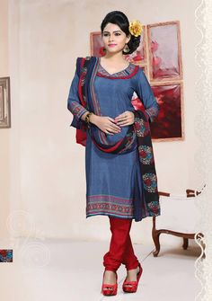 Buy Steel Blue Crepe Churidar Suit 64105 online at lowest price from huge collection of salwar kameez at Indianclothstore.com.