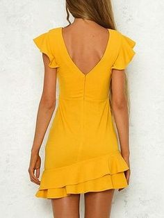 Shop Yellow Open Back Ruffle Sleeve Mini Dress at victoriaswing, personal womens clothing online store! high quality, cheap and big discount, latest fashional style! Event Dresses, Day Dresses, Cute Dresses, Casual Dresses, Fashion Dresses, Short Sleeve Dresses, Long Sleeve, Prom Dress Shopping, Online Dress Shopping