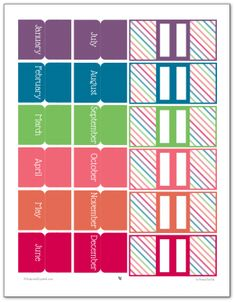 Printable Planner Accessories in the 2016 Colours- Monthly tabs and Page markers