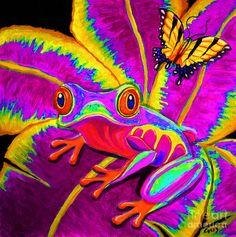 Rainbow Red-eyed Tree Frog - acrylic/digital art by ©Nick Gustafson (FineArtAmerica)