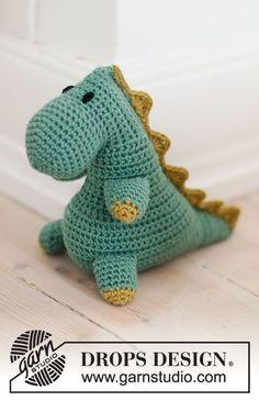 free crochet pattern for a t rex Crochet Gratis, Crochet Amigurumi Free Patterns, Knitting Patterns Free, Free Knitting, Crochet Toys, Free Crochet, Drops Design, Magazine Drops, Yarn Organization
