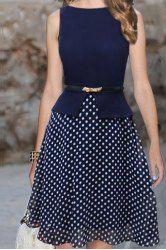 Polka Dot Print Sleeveless Round Collar Belt Design Women's Dress