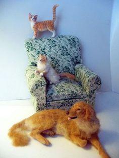 Dollhouse-Miniature-Orange-Tabby-Cat-Handsculpted