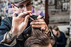 Welcome to Pappas Barber Shop. Its an Aladdin's cave of iconic barber shop paraphernalia and classic images of tattoos spread around the wooden walls. Retro Mens Hairstyles, Barber Shop Pictures, Barber Haircuts, Shaved Hair Designs, Hair Photography, Photography Branding, Salon Names, Hair Cuts, Humor