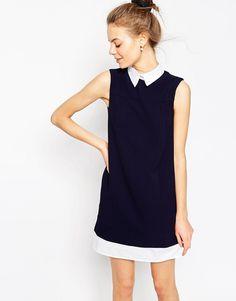 Image 1 ofASOS Shirt Detail Shift Dress