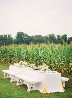 table setup for outside field wedding- Field Wedding, Green Wedding, Farm Wedding, Wedding Reception, Wedding Stuff, Rustic Elegance, Rustic Chic, Rustic Style, Southern Weddings