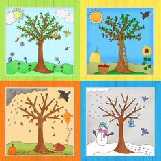 Zum Abschluss der Jahreszeitenbäume gibt es jetzt noch das Komplettpaket mit al. At the end of the season trees, there is now the complete package with all four trees in color and as coloring page, Toddler Learning Activities, Preschool Activities, Art For Kids, Crafts For Kids, Kindergarten Portfolio, Preschool Decor, Free To Use Images, Science Fair Projects, Winter Trees