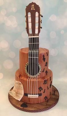 Guitar cake for music inspired wedding Crazy Cakes, Fancy Cakes, Pink Cakes, Music Themed Cakes, Music Cakes, Drum Cake, Guitar Cake, Guitar Cupcakes, Unique Cakes