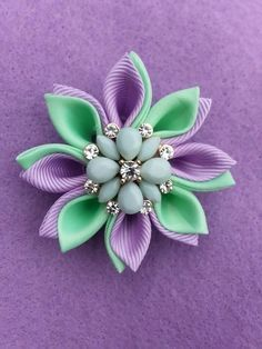 Image of One of a Kind Kanzashi Star Lapel - Lavender and Mint