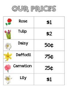 Flower Shop prices for dramatic play - Garden Tips Preschool Garden, Preschool Lessons, Kindergarten Activities, Preschool Classroom, Preschool Learning, Learning Activities, Dramatic Play Area, Dramatic Play Centers, Prop Box
