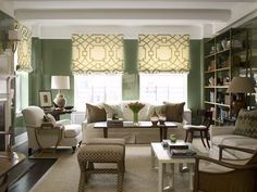 Mrs. Howard! How does one make a super high gloss green living room that is also relaxed and understated?! Gorgeous.