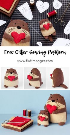 Free Otter Sewing Patterns from Fluffmonger - DIY Plush Otters, DIY Gifts, Favors . - Free Otter Sewing Patterns from Fluffmonger – DIY Plush Otters, DIY Gifts, Stuffed Otters Tu - Easy Sewing Projects, Sewing Projects For Beginners, Sewing Hacks, Sewing Crafts, Sewing Tutorials, Diy Gifts Sewing, Sewing Art, Sewing Ideas, Diy Projects