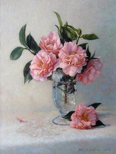 Artist - Robin L Anderson.  Camellias in Glass Hurricane. http://www.robinandersonfineart.com/