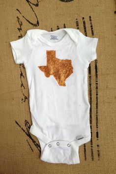 Custom State of Texas Baby Onesie: Texas Burnt Orange on Etsy, $12.00