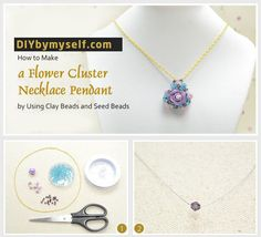 Tutorial step by step Cluster Necklace, Pendant Necklace, Clay Beads, Seed Beads, Jewelry Gifts, Washer Necklace, Flowers, How To Make, Handmade