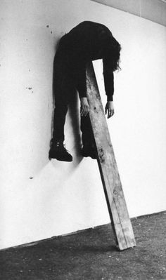 Charles Ray Plank Piece I & II 1973 Two black and white photographs on rag board Each: x cm x Pose Reference Photo, Art Reference, Kreative Portraits, Art Plastique, Installation Art, Dark Art, White Photography, Artistic Photography, Contemporary Art