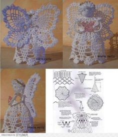 Crochet Christmas Angels Baptism gift Lace Angel ornament Tree decoration Home decor Wedding gift religious gift Crochet Angel Pattern, Crochet Angels, Crochet Cross, Thread Crochet, Crochet Motif, Crochet Doilies, Crochet Patterns, Quilted Christmas Ornaments, Crochet Ornaments