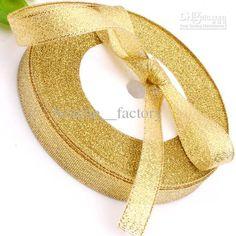 Wholesale 1/2 Golden Glitter Metallic Jewelry Ribbon Gold (1 Roll 25yds), Free shipping, $1.85-2.22/Piece | DHgate