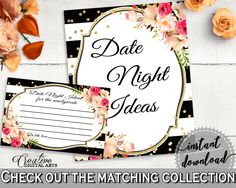 Date Night Ideas in Flower Bouquet Black Stripes Bridal Shower Black And Gold Theme, hens night, black strips, party plan, prints - QMK20 #bridalshower #bride-to-be #bridetobe