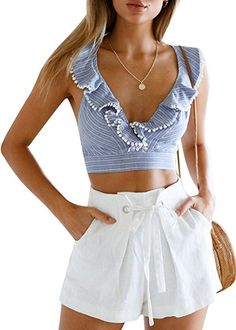9c3269462ac9 Glamaker Women s Sexy V Neck Backless Tank Tops Stripped Floral Ruffles Crop  Tops at Amazon Women s Clothing store  White Shorts Outfit SummerCasual ...