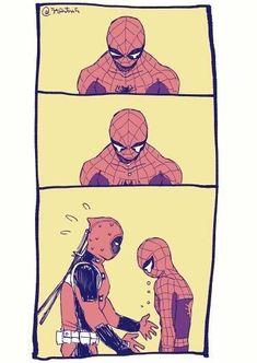 Marvel Jokes, Marvel Funny, Marvel Dc Comics, Marvel Heroes, Marvel Avengers, Cute Deadpool, Deadpool Y Spiderman, Spiderman Art, Spideypool