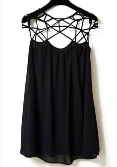 Black Hollow-out Honey Girl Short Sleeve Chiffon Dress