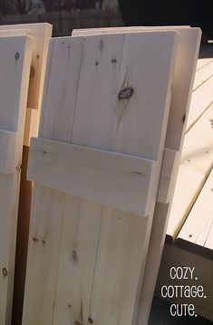 DIY shutters- I have been eyeballing these shutters on other folk's houses & planning to build them. Looks like that just got easier! Make them working shutters for hurricanes. Diy Shutters, Window Shutters, Cottage Shutters, Diy Exterior Wood Shutters, Houses With Shutters, Homemade Shutters, Country Shutters, Outdoor Shutters, Cedar Shutters