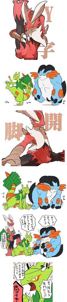 「軟体ホウエン」/「ばん」の漫画 [pixiv] Pokémon exercise Mega Blaziken Mega Sceptile Mega Swampert